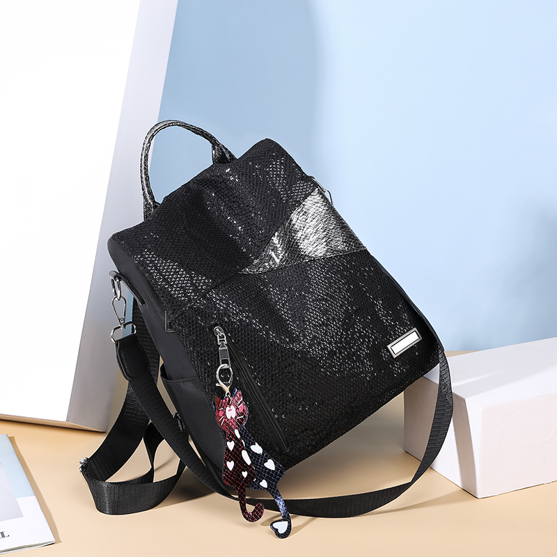 H73bd783436bd42dc890d2a4febc99276a Simple style ladies backpack anti-theft Oxford cloth tarpaulin stitching sequins juvenile college bag purse Bagpack Mochila