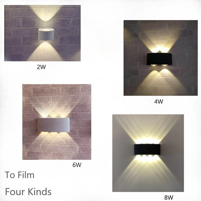 Nordic Wall Lamp Led Aluminum Outdoor Indoor Ip66 Up Down White Black Modern For Home Stairs Bedroom Bedside Bathroom Light Home Decor & Toys