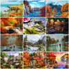 HUACAN Oil Painting Landscape Handpainted Home Decoration Drawing Canvas Picture By Numbers Scenery Wall Art Gift