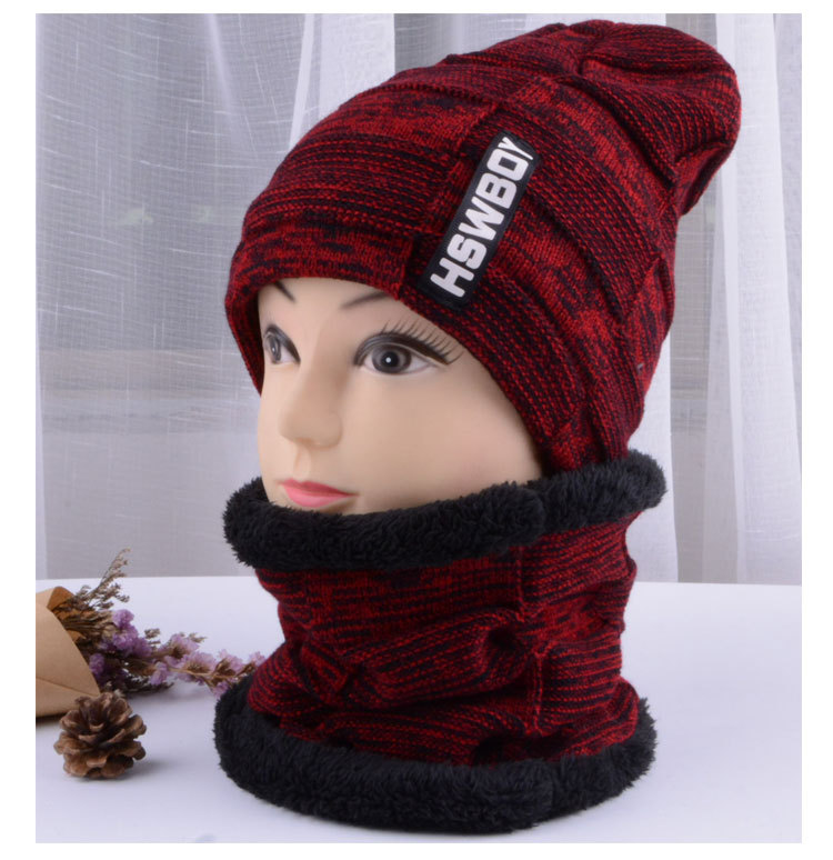 2019 Autumn And Winter New Men's Thick Knit Hat Set Korean Version Of The Letter Label Knit Hat Bib Two-piece