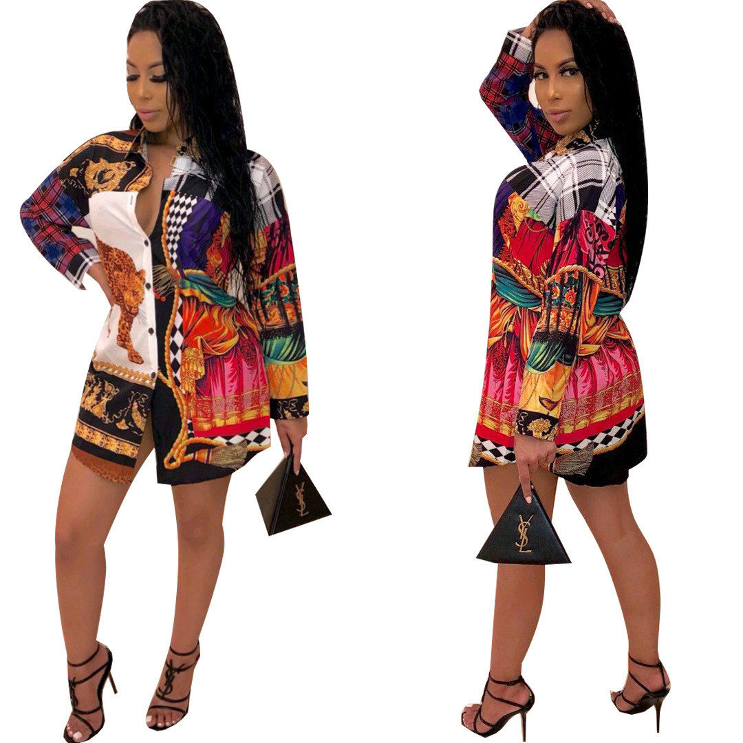African Clothes2019 Contrast Color Irregular Pattern Printed Women Shirt Turn-Down Collar Full Sleeve Single-Breasted Fashion La