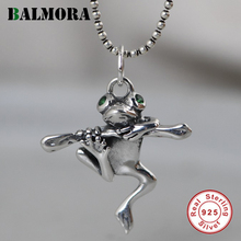 BALMORA Real 100% 925 Pure Silver Frog Pendant For Women Men Cute Hanging Pendant Thai Silver Jewelry Decoration Without Chain