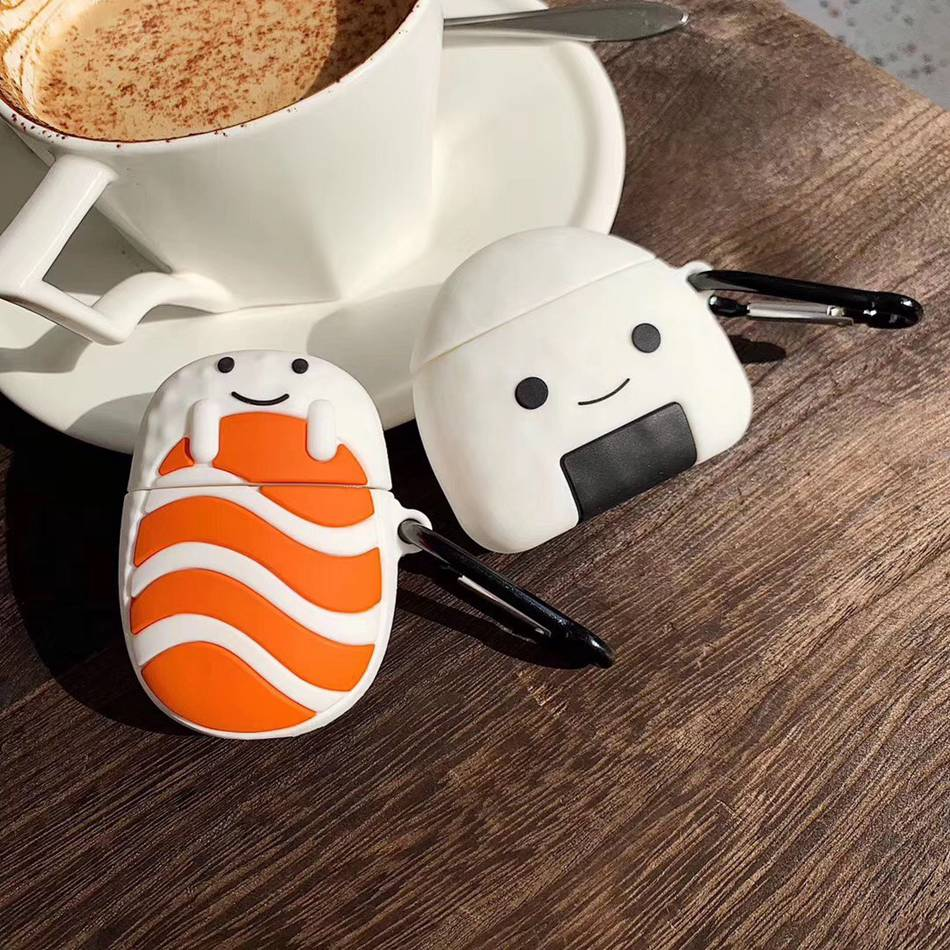 For AirPods <font><b>Case</b></font> 3D Fun Cute Salmon Rice Ball Sushi Earphone <font><b>Case</b></font> For Airpods 2/i10/<font><b>i11</b></font> <font><b>TWS</b></font> Protect Cover with Carabine Hook image