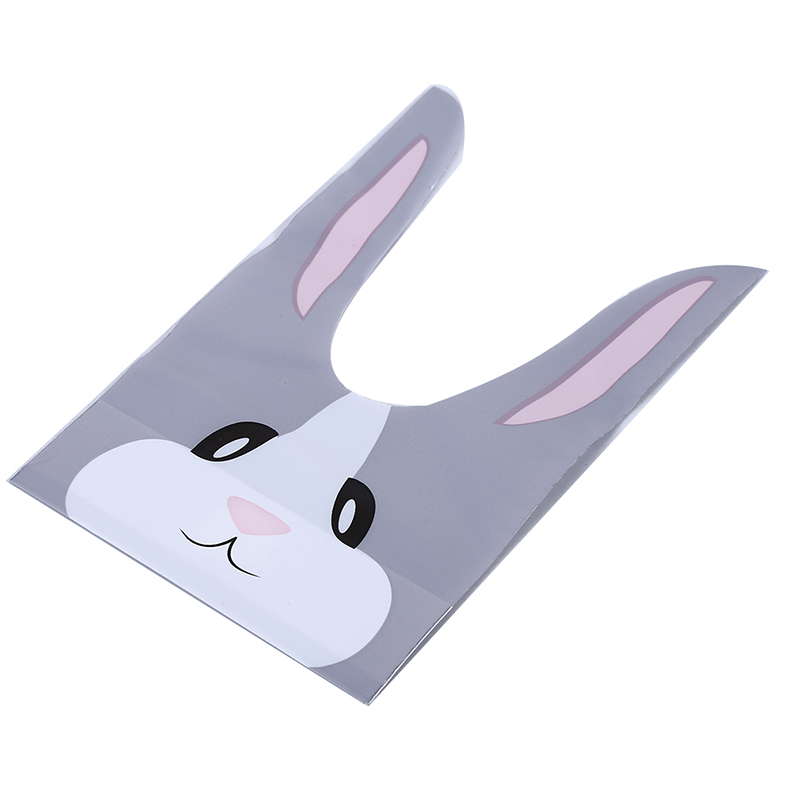 50Pcs/pack Cute Rabbite Ear Candy Bags Bunny Cookie Biscuit Packaging Plastic Bag Baking Snack Bag Wedding Party Supplies