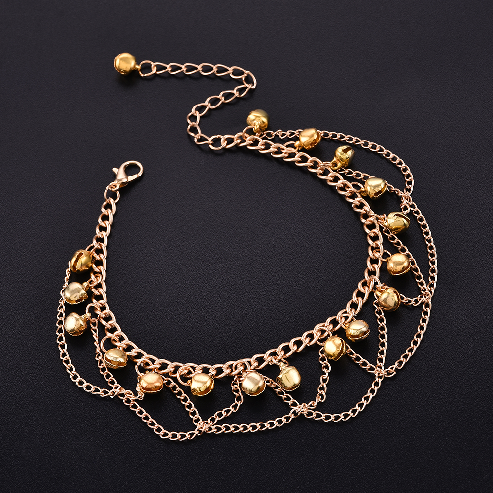 2017 New Women Gril Tassel Chain Bells Sound Gold Metal Chain Anklet Ankle Bracelet Foot Chain Jewelry Beach Anklet