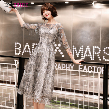 Slive Luxury Evening Gowns ES2517-1 Elegant O Neck Half Sleeve Sequined Silver Formal Party Gown Robe Longue