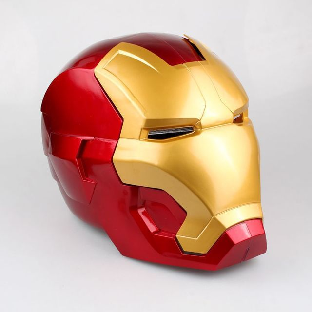 [Funny] The avengers super hero Iron Man Helmet electronic Mask PVC Figure Toy with LED Light Collection Model adult Size 2
