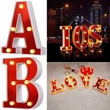 Красная Пластиковая буква светодиодный ночник Marquee знак Алфавит лампы для дома клуба наружные вечерние свадебные украшения дома XOA