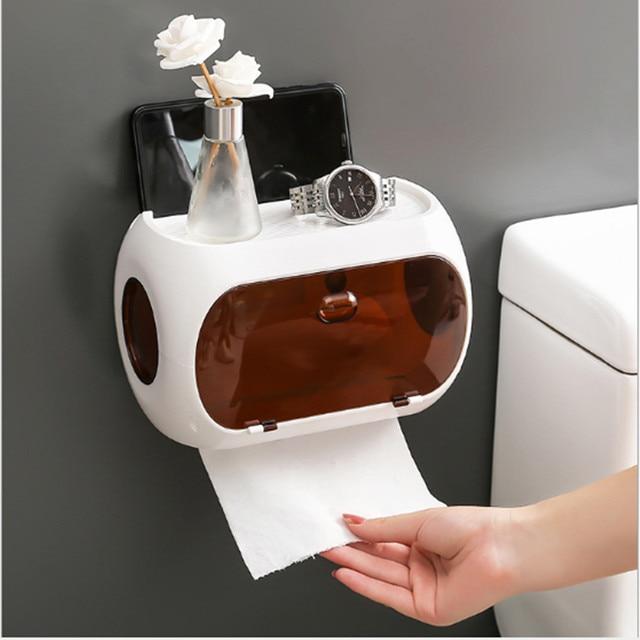 Bathroom tissue box Free punch paper towel holder Paper finishing rack phone stand Portable toilet tray Bathroom shelf