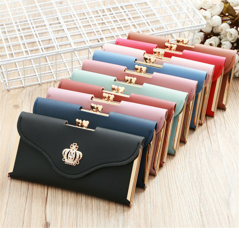 Womens Wallet Ladies Crystal Diamond Crown Decorated Long Card Holder Clutch Bag Case Female Retro Leather Purse Handbag