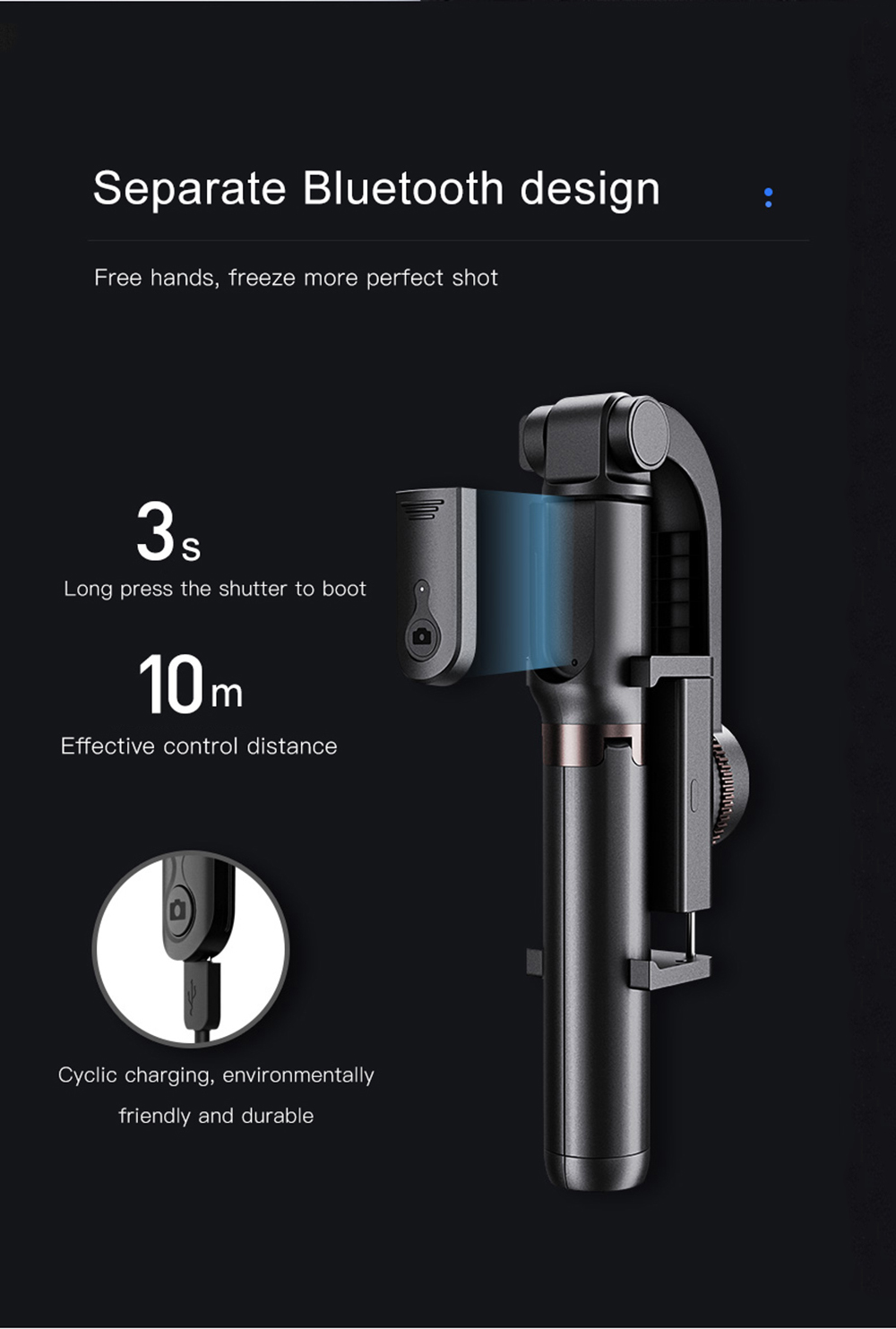 Bonola 3 in1 Handheld Gimbal Stabilizer Smartphone Selfie Stick Tripod For iOSAndroid Video Stabilizer For iPhone11ProSamsung (12)