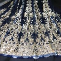 Deep Blue Mesh Fabric Gold Bronzed Sequins Fabric Wedding Dress Material Designer DIY Tissus Au Metre Telas Stoffen 90X130CM