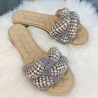 OpenToe Woman Mujer Mules Slides 2020 New Summer Women Fashion Pearl Decoration Casual Lady Feminine Pearly Flat Slippers Shoes