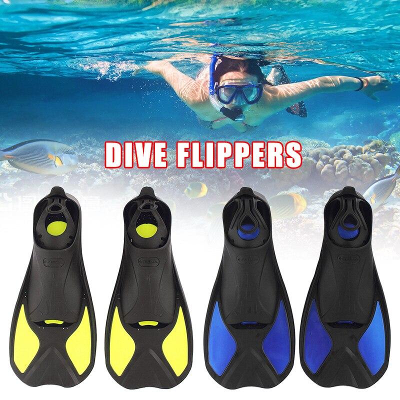 Kids Adults Full Foot Short Fins Scuba Diving Swim Training Flippers