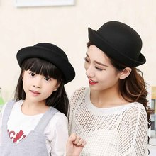 Dress Hats Top-Hat Felting Kids' Wool Children Round for Mom And Baby Dome-Cap