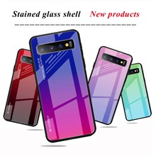Tempered Glass Case untuk Samsung Galaxy S11 S10 5G S9 S8 Plus S10E Shockproof Cover untuk Galaxy Note 10 pro 9 8 Lucu Kasus Mewah(China)