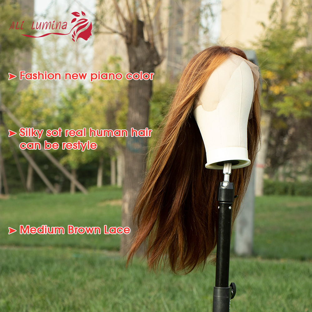 13X4 Lace Front Wig  Straight Highlight Wig  Wigs Pre Pluck With Baby Hair Ombre  Wig 2