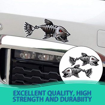 2Pcs Skeleton Fish Bones R&L Vinyl Decals Stickers Kayak Fishing Boat Car (C022) image