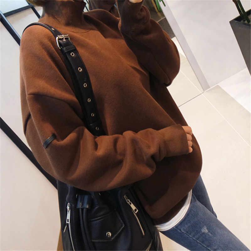 2019 새로운 가을 겨울 느슨한 여성 스웨터 단색 높은 칼라 긴 소매 두꺼운 따뜻한 니트 풀오버 패션 의류 여성 c79