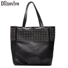 DIINOVIVO Rivet Women Bag Handbags Lady PU Leather Shoulder Bag Large Bags For Women 2019 Punk Top-handle Bags Big Tote WHDV1297 все цены