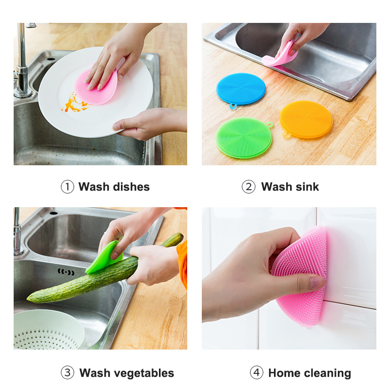 1PC New Silicone Dish Bowl Cleaning Brush Silicone Scouring Pad Silicone Dish Sponge Kitchen Pot Cleaner Washing Tool Squeegee