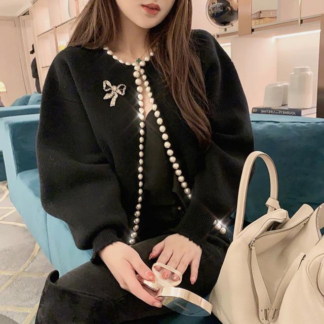 2020 nouvelle mode vestes coréennes perles Cardigan manches chauve-souris laine tricot Vintage femmes manteau de haute qualité veste AQ927 5