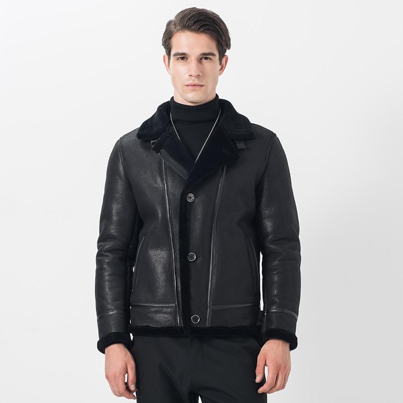 Men's Leather Jacket Sheepskin Coat Autumn Winter Genuine Leather Jackets 100% Wool Lining Vintage Motorcycle 14306