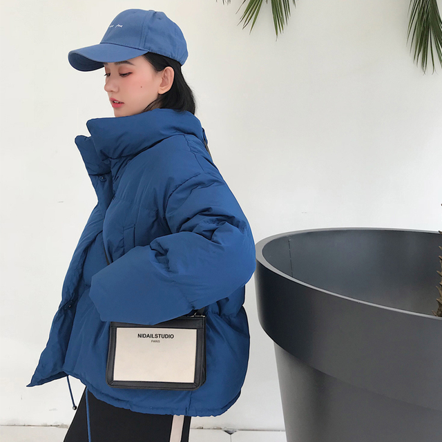 Зимние Модные женские парки, пуховики с хлопковой подкладкой, теплые, толстые, свободные, большие, однотонные, ватные куртки, женские повседневные куртки