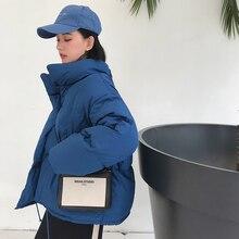 冬のファッション女性パーカーダウンコットンパッド入り厚いゆるいオーバーサイズsoildキルトジャケット女性カジュアルパンコート