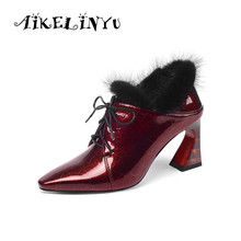 AIKELINYU Women Shoes Autumn 2019 Womens Pointed Leather Lace Up Marten Hair Plus Size Heels Female Black Pumps