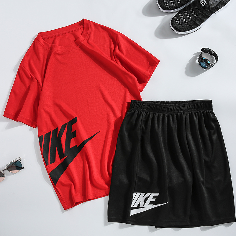 Printed Men's Summer Short-Sleeved T-shirt Sports Suit Men's Casual Fashion Running Cotton T Shirts+Shorts Sets Men Brand Clothi