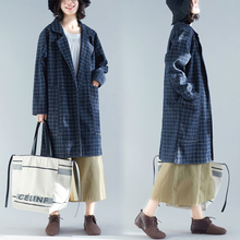 #3170 Plaid Denim Trench Coat Women Oversized Loose Big Pockets Casual Overcoat