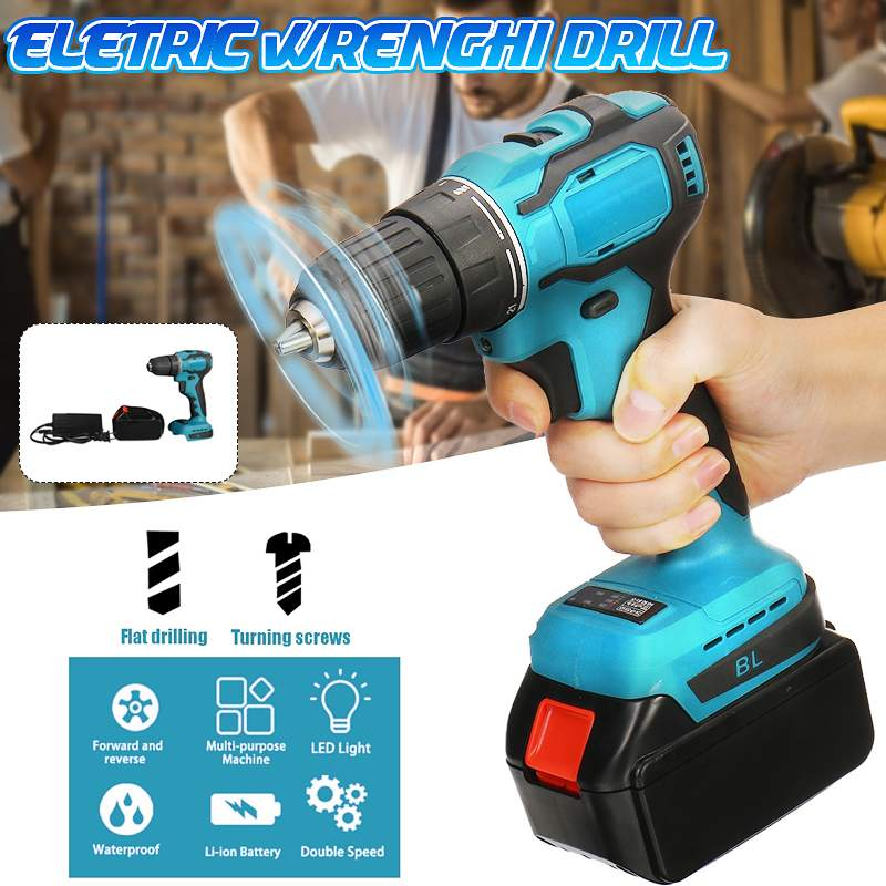 Cordless Brushless Drill Electric Screwdriver Electric Drill Power Driver Lithium-Ion Battery Mini Drilling Cordless Screwdriver