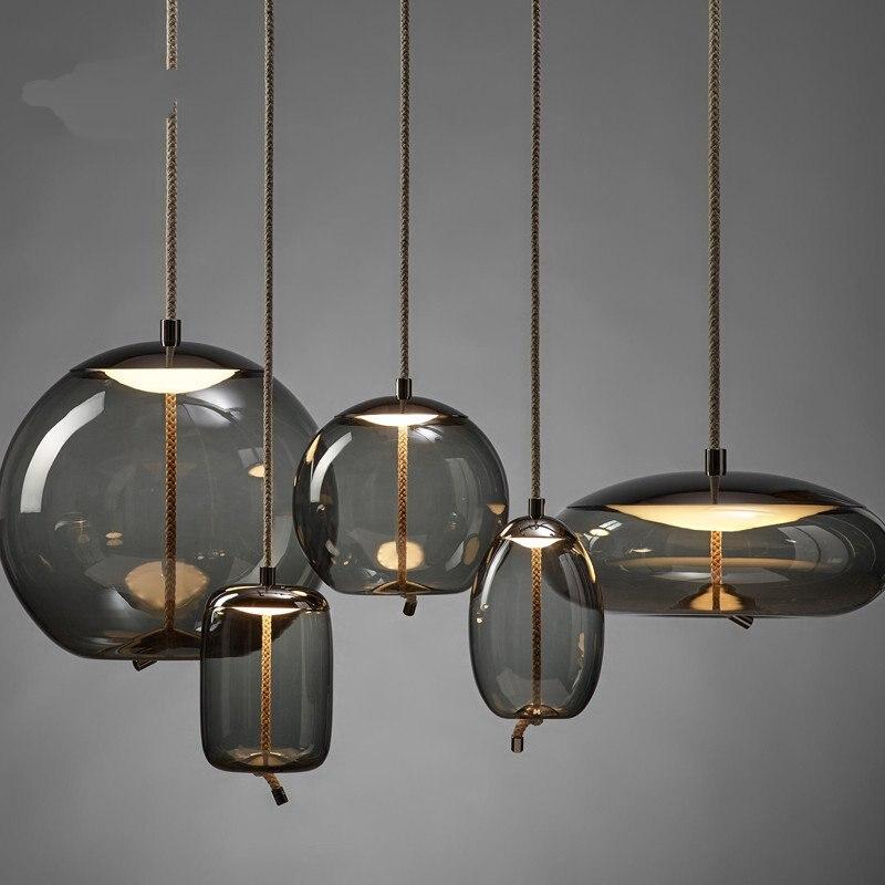 Escandinavo brokis nó luzes pingente de cabeceira nordic luminaria deco lustre vidro luzes pingente luminária suspendu - 2