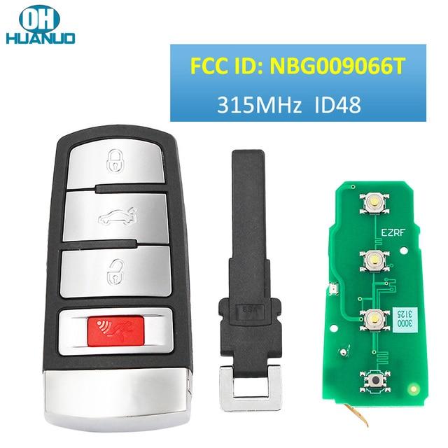 Keyless Go 3+1 Button ASK315 MHz Remote Control Key / 48 CHIP / FCC ID: NBG009066T / for 2006 2013 Passat, 2009 2015 CC
