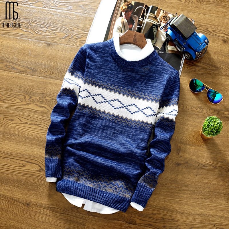 Manoswe Autumn Winter  Men O Neck Sweater Jumper Christmas Warm Casual Bottoming Fit Pullover Knitted Fashion Male Clothes