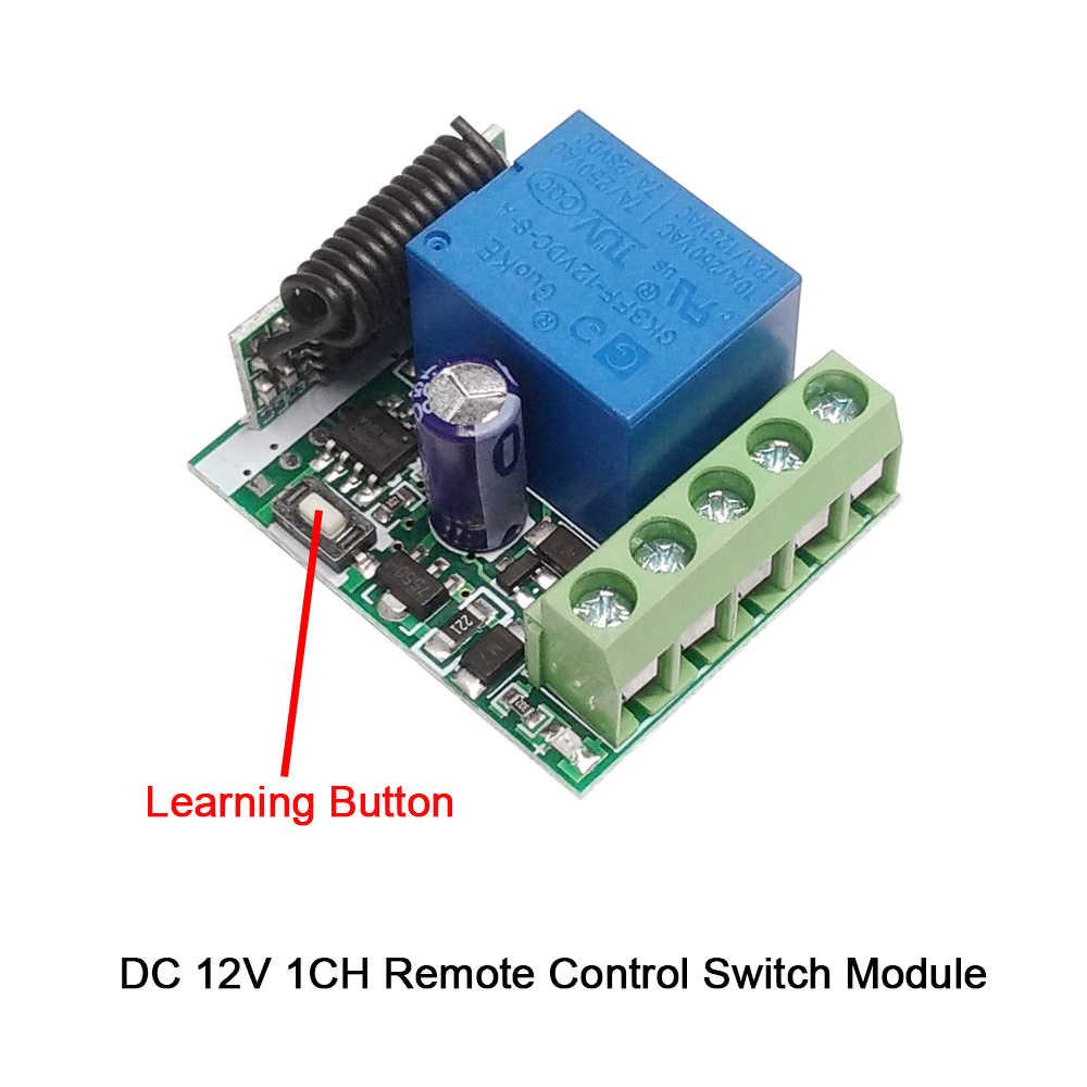 Rubrum 433 MHz ไร้สายรีโมทคอนโทรลสวิตช์ DC 12V 1CH รีเลย์ตัวรับสัญญาณรีเลย์ + เครื่องส่งสัญญาณ RF 433 MHz รีโมทคอนโทรล