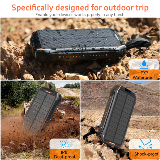 26800mAh Solar Power Bank with Strong LED Flashlight Powerbank For Xiaomi Mi 8 iPhone 11 Samsung Charger Solar Battery Poverbank 5