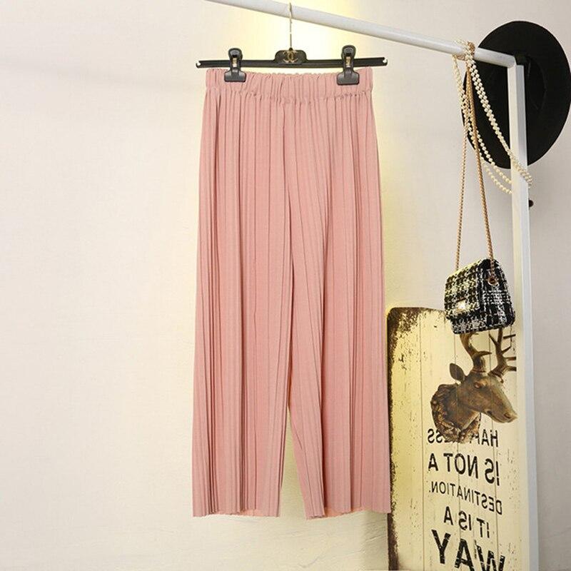Складные плиссированные брюки палаццо женские брюки 2020 женские повседневные брюки со средней талией широкие брюки