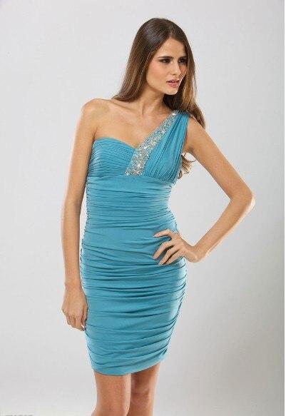 Free Shipping 2016 New Fashion Vestidos De Fiesta Formal Saxy Short One Shoulder Crystal Elegant Prom Cocktail Party Dresses