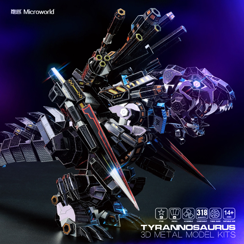 Microworld 3D Metal Puzzle Tyrannosaurus Assemble Model Kits D011 DIY 3D Laser Cut Jigsaw Toy