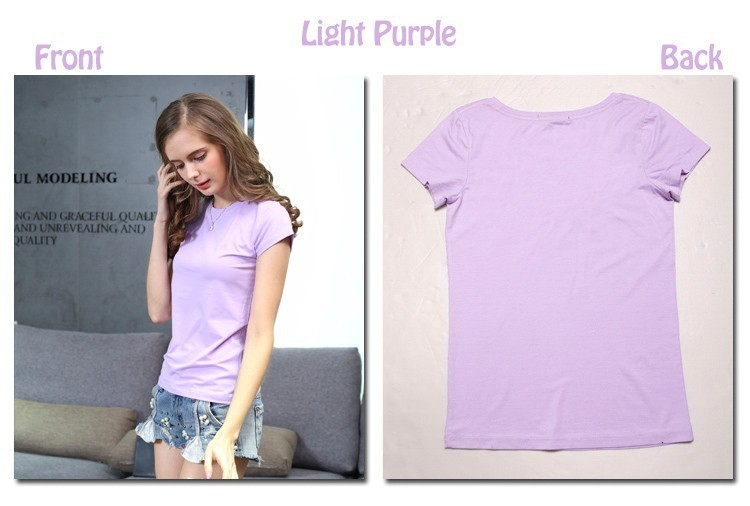 High Quality Plain T Shirt Women Cotton Elastic Basic T-shirts 15