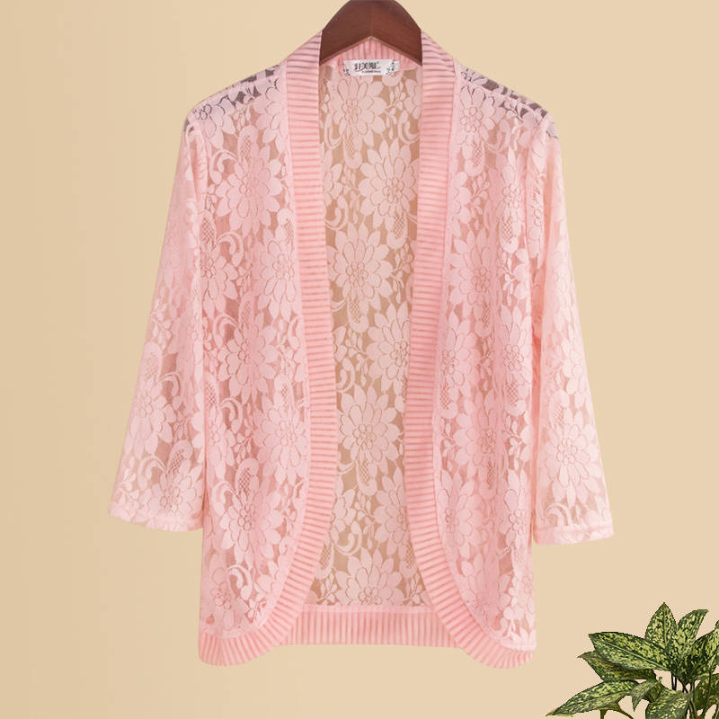 Lace Shawl Women's Summer Outdoor Short Versatile Thin Cardigan White Large Size Hollow Out Sunscreen Small Waistcoat  G1271