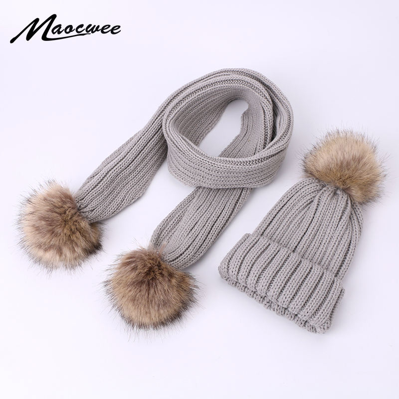 Winter Warm Scarf Hat Set Children Adult Beanies PomPon Knitted Skullies Hats Pure Colour Autumn Pure Colour Unisex Solid Color