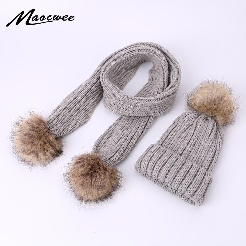 Winter Warm Scarf Hat Set Children Adult Beanies PomPon Knitted Skullies Hats Pure Colour Autumn Pure Colour Unisex Solid Color