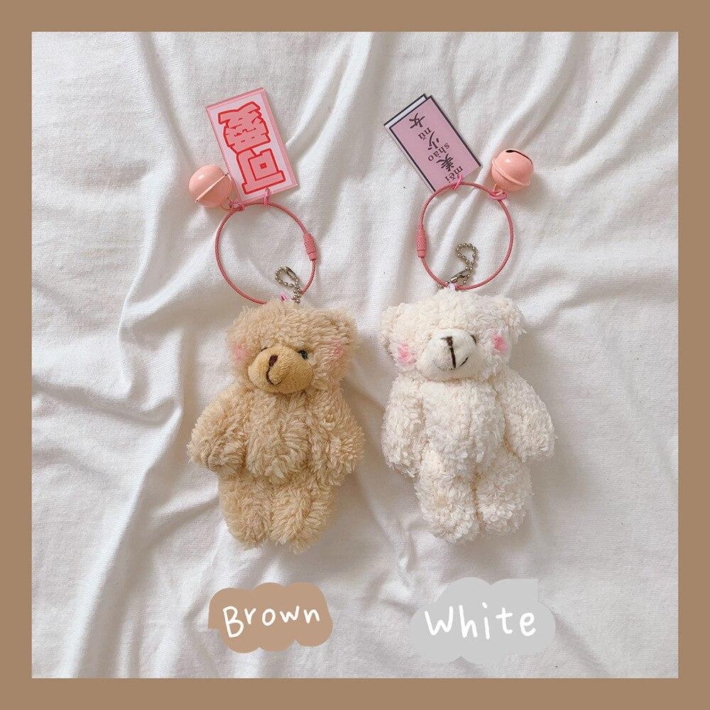 1pcscute dos desenhos animados urso de pelúcia coelho chaveiro pompom trinket para o bebê brinquedo de pelúcia menina saco carro chaveiro telefone móvel pingente jóias