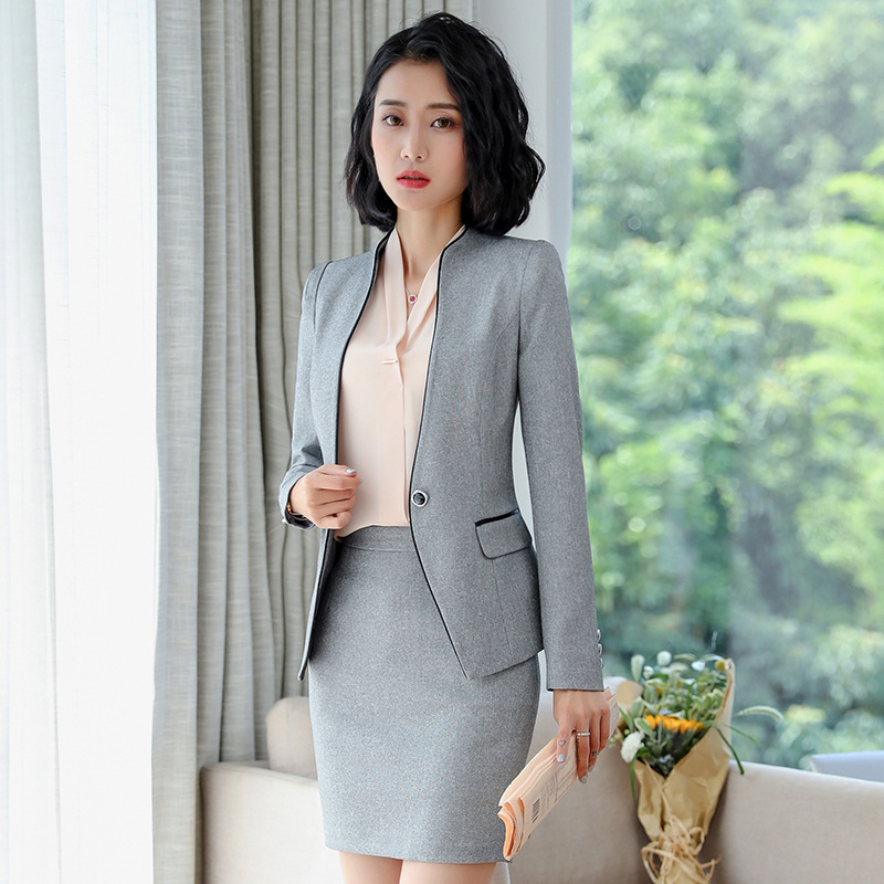 Women's Skirt Suit 2 Pieces Set Office Wear Jacket Skirt With Suit Ladies Skirt And Jacket Set Formal Elegant Long Sleeve Coat