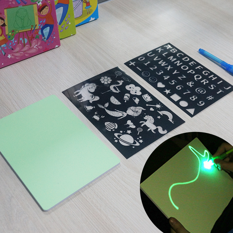 Hot Selling A4 Children Portable Fluorescent Drawing Board Luminous Tablet Night Light Doodle Toy