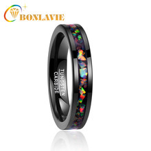 Bonlavie novo chique vintage encantadores menrings s anéis 4mm de largura incrustada opala preto tungstênio aço anel tamanho 7-12 à venda