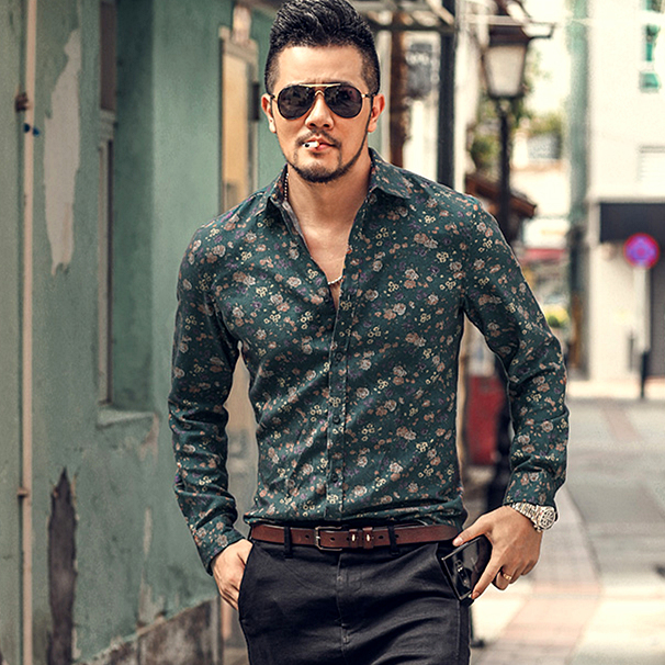 Autumn New Fashion Men's Flower Printed Shirt Personality Men's Slim Long Sleeve Shirt Men's S5001,S5002,S5005